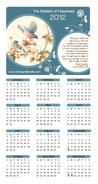 Screen shot of blue bird calendar